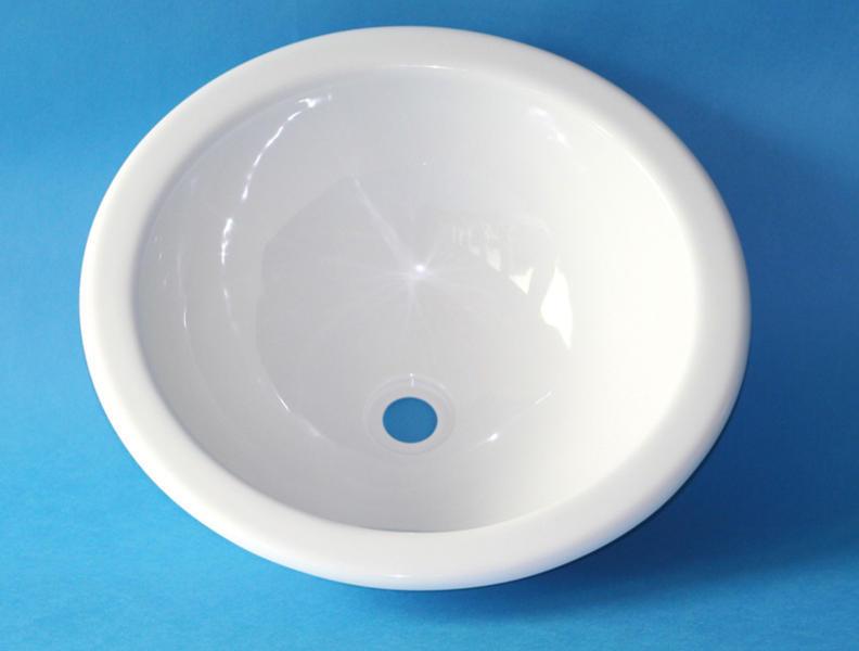 Waschbecken Rund Kunststoff 360 X 140 Mm Weiss